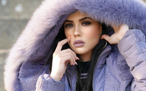 Picture look, girl, face, hair, jacket, beauty