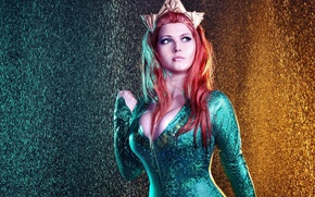 Picture red, girl, red hair, big, pretty, redhead, cosplay, oppai, Aquaman, bishojo, Justice League, Mera, tekai
