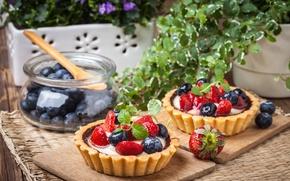 Wallpaper strawberry, tart, sweet, delicious, berries, berries, blueberries, sweet, basket, dessert, dessert, cream, tartlet