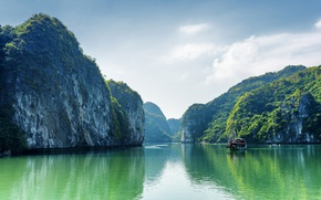 Wallpaper Vietnam, Bay, Nature, Sea, Halong Bay, Bay, Rock