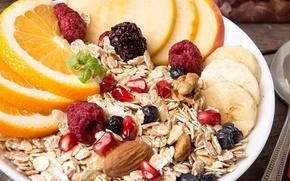 Picture berries, orange, Breakfast, fruit, breakfast, muesli, muesli, fresh berries