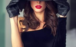 Picture girl, model, lipstick, lips, gloves, hat