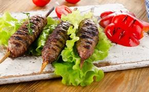 Picture leaves, meat, pepper, vegetables, tomato, salad, kebab