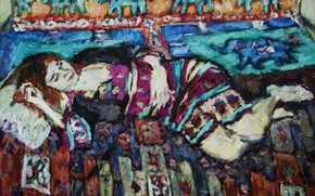 Picture elephants, 2011, ornaments, Peter Petyaev, woman resting