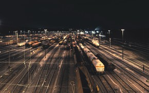 Picture night, the city, station, cars, railroad