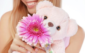 Picture flower, girl, toy, bear