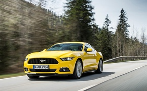 Picture road, forest, yellow, speed, Ford Mustang