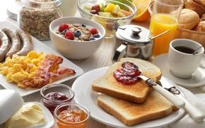 Picture berries, oil, sausage, coffee, Breakfast, juice, fruit, cakes, jam, bacon, porridge, toast, omelette