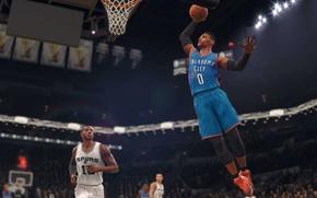 Picture sport, game, NBA, Electronic Arts, San Antonio Spurs, Oklahoma City Thunder, basktball, NBA LIVE 18