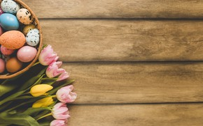 Picture flowers, spring, Easter, tulips, pink, wood, pink, flowers, tulips, spring, Easter, eggs, decoration, Happy, tender, ...