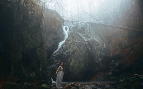 Picture girl, stones, rain, decay, Aleah Michele, and cold winds, Black woods