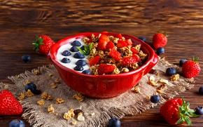 Wallpaper blueberries, strawberry, Breakfast, food, oatmeal, berries, yogurt