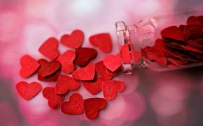 Picture bottle, hearts, decor
