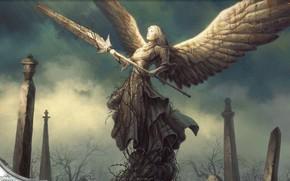 Picture angel, Magic, warrior, statue, spear, MTG, tenshi, sacred warrior, Magic: the Gathering, divine, M:TG