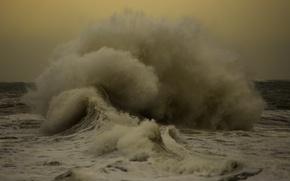 Picture storm, sea, splash, wave, cloudy, troubled sea
