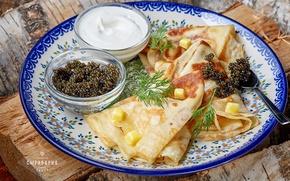 Picture dill, pancakes, caviar, sour cream