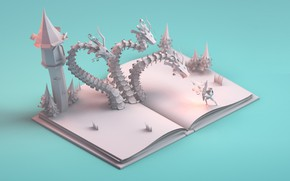 Wallpaper Paper story, dragon, notebook, art, fantasy, mohamed chahin, book