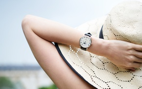 Wallpaper girl, watch, hand, hat