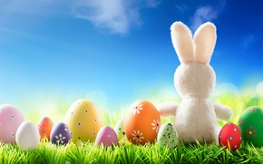 Wallpaper grass, the sun, flowers, spring, rabbit, Easter, flowers, spring, Easter, eggs, bunny, decoration, Happy, the ...