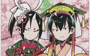 Picture Sakura, two, flowering, Japanese clothing, art, horn, headdress, youkai, hoozuki, cold-blooded Hozuki, hoozuki no reitetsu, …