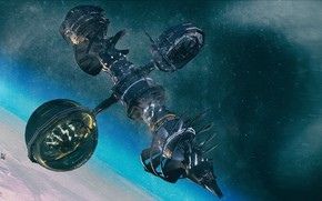 Picture space, planet, stars, station, burrower