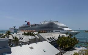 Picture sea, the city, port, liner, Carnival Magic