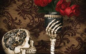 Picture flowers, style, glass, skull, mechanism, hand, roses, bones, gear