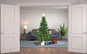 Picture room, graphics, tree, the door, New year