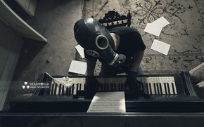 Picture music, people, gas mask, piano