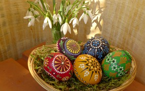 Picture flowers, Easter, eggs, Holiday, spring, snowdrops