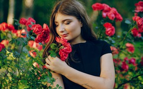 Picture girl, flowers, roses, brown hair