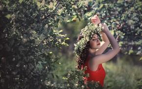 Wallpaper girl, happiness, spring, dress, flowering, wreath
