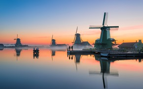 Picture sunset, the evening, channel, mill, Netherlands, Holland, Zaanse Schans