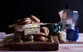 Picture coffee, cookies, Cup, cream, dessert, cakes, coffee cup, cookies, macaron, almond, macaroon