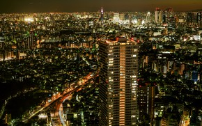Wallpaper lights, panorama, megapolis, night, the city