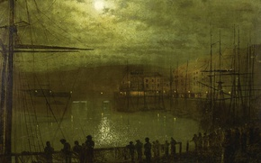 Wallpaper harbour, clouds, night, John Atkinson Grimshaw, the urban landscape, mast, A View Of Whitby, people, ...