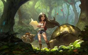 Picture forest, turtle, map, art, hike, children's, researchers, random practice 05, puz lee