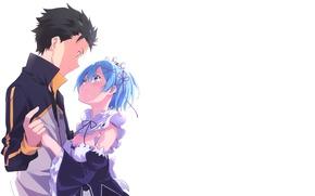 Picture romance, anime, art, pair, two, Subaru, Re: Zero kara hajime chip isek or Seikatsu, REM