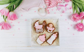 Picture flowers, background, holiday, Tulips, cookies, nipples, birth, buds, postcard, newborn, bottle