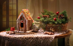 Picture decoration, holiday, new year, gingerbread house, fir-tree branches