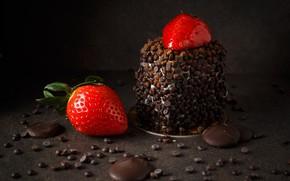 Wallpaper delicious, food, cake, dessert, chocolate, cream, strawberry