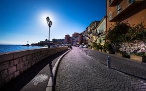 Wallpaper sea, the sky, the sun, landscape, street, coast, France, home, horizon, lights, Provence, Cote d'azur, ...