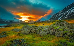 Picture clouds, mountains, stones, glow, Iceland