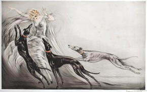 Picture dogs, 1929, Louis Icart, Hunting with hounds II