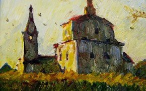 Picture landscape, temple, 2007, Peter Petyaev, AT SUNSET