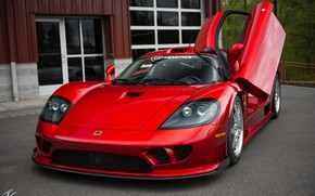 Picture red, sports car, Twin Turbo, Saleen S7, manual Assembly