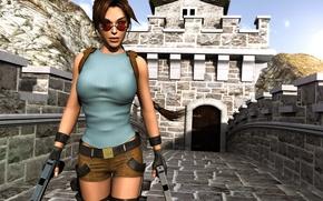 Picture girl, weapons, guns, shorts, glasses, Tomb Raider, Lara Croft, Lara Croft