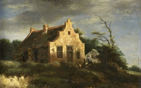Picture landscape, tree, oil, picture, Jacob van Ruisdael, Farm House Among The Wooded Dunes