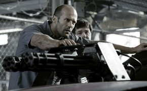 Wallpaper man, prison, minigin, jail, Death Race, movie, heavy weapon, tatoo, penitentiary, Jason Statham, car, machine ...
