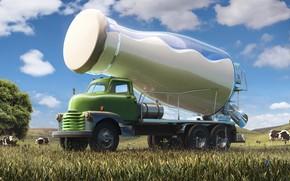 Picture field, cow, milk, car, bottle, Creative Streams, milktruck